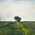 Landscape Painting-lone Tree-barbara J. Hart-oil On Canvas-24 by Barbara J Hart