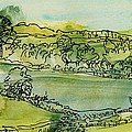 Landscape Pen & Ink With Wc On Paper by Brenda Brin Booker