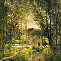 Landscape With A Sunlit Stream by Charles-Francois Daubigny