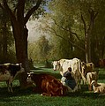 Landscape With Cattle And Sheep by Constant Emile Troyon