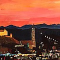 Landshut At Dawn With Alps by M Bleichner