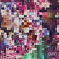 Large Blocks Digital Abstract - Purples by Debbie Portwood