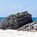 Large Boulder On Beach At Tulum by Tom Doud