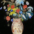 Large Bouquet On A Black Background by Odilon Redon