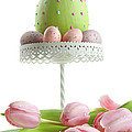 Large Easter Egg With Pink Tulips  by Sandra Cunningham