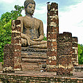 Large Sitting Buddha At Wat Mahathat In 13th Century Sukhothai H by Ruth Hager
