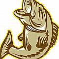 Largemouth Bass Fish Jumping Retro by Aloysius Patrimonio