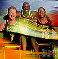 Larry Bird Michael Jordon And Magic Johnson by Marvin Blaine