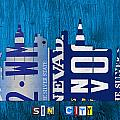 Las Vegas Nevada City Skyline License Plate Art on Wood by Design Turnpike