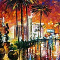 Las Vegas - Palette Knife Oil Painting On Canvas By Leonid Afremov by Leonid Afremov