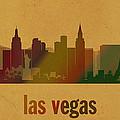 Las Vegas Skyline Watercolor On Parchment by Design Turnpike