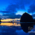 Last Light - Cannon Beach Sunset With Reflection In Oregon The Coast by Jamie Pham