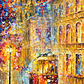 Last Trolley - Palette Knife Oil Painting On Canvas By Leonid Afremov by Leonid Afremov