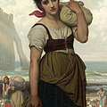Laundress At Etretat by Hugues Merle