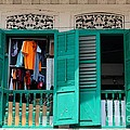 Laundry Hanging Seen Through Open Wood Shutter Windows Singapore by Imran Ahmed