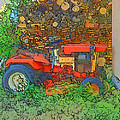 Lawn Tractor And Wood Pile by Cathy Anderson
