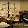 Lawyer - The Lawyer's Desk In Black And White by Paul Ward