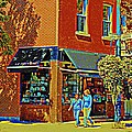 Le Fouvrac Foods Chocolates And Coffee Shop Corner Garnier And Laurier Montreal Street Scene by Carole Spandau