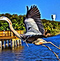 Leaping Egret by Alice Gipson