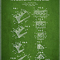 Lego Toy Building Blocks Patent - Green by Aged Pixel
