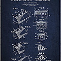 Lego Toy Building Blocks Patent - Navy Blue by Aged Pixel