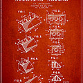 Lego Toy Building Blocks Patent - Red by Aged Pixel