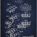 Lego Toy Building Brick Patent - Navy Blue by Aged Pixel