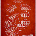 Lego Toy Building Brick Patent - Red by Aged Pixel
