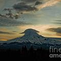 Lenticular Sunset On Mount Hood by Cari Gesch