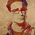 Leonard Hofstadter Watercolor Portrait Big Bang Theory On Distressed Worn Canvas by Design Turnpike