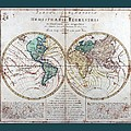 Leonhard Euler World Map 1760 Ad With Matching Grey Aqua Small Border by L Brown