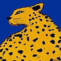 Leopard On Blue by Dale Moses