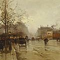 Les Boulevards Paris by Eugene Galien-Laloue