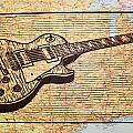 Les Paul On Usa Map by William Cauthern