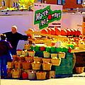 Les Pommes Fruiterie Marcel Vert Pommes Red Apples Jean Talon  Market Scenes Carole Spandau  by Carole Spandau