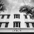 Leslie Hotel South Beach Miami Art Deco Detail - Black And White by Ian Monk