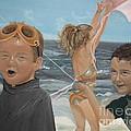 Beach - Children Playing - Kite by Jan Dappen