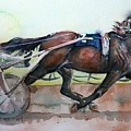 Racehorse Painting In Watercolor Let's Roll by Maria's Watercolor