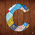 Letter C Alphabet Vintage License Plate Art by Design Turnpike