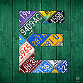 Letter E Alphabet Vintage License Plate Art by Design Turnpike