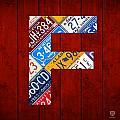 Letter F Alphabet Vintage License Plate Art by Design Turnpike
