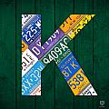Letter K Alphabet Vintage License Plate Art by Design Turnpike