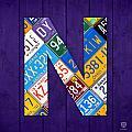 Letter N Alphabet Vintage License Plate Art by Design Turnpike