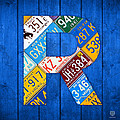 Letter R Alphabet Vintage License Plate Art by Design Turnpike