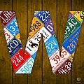 Letter W Alphabet Vintage License Plate Art by Design Turnpike
