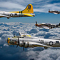 Liberty Belle And Fuddy Duddy With Mustangs by Ken Brannen