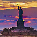 Liberty Statue Silhouette Sunset by Maria isabel Villamonte