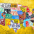 License Plate Art Map of the United States on Yellow Board by Design Turnpike
