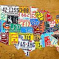 License Plate Map of The United States on Burnt Orange Slab by Design Turnpike