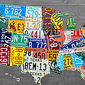 License Plate Map of The United States on Gray Wood Boards by Design Turnpike